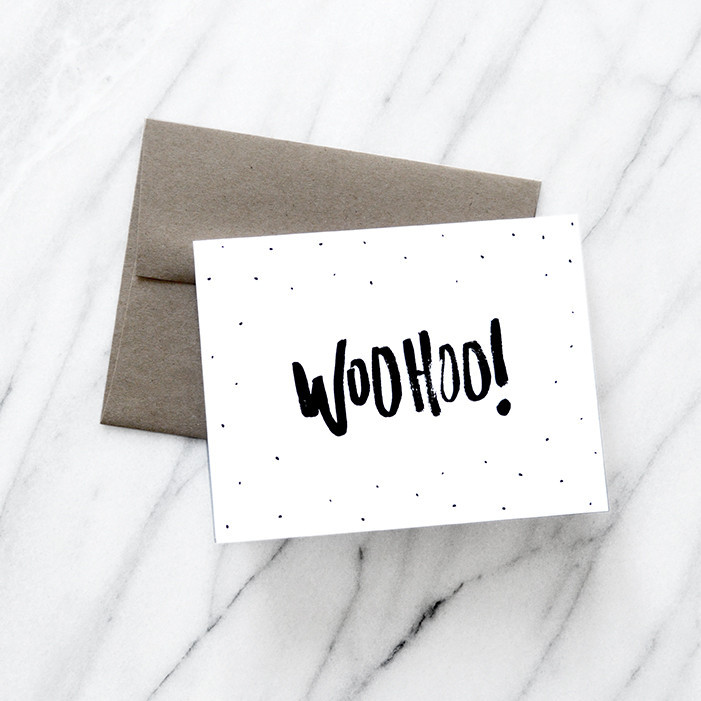 woohoo, card, melo & co., stationery, greeting card, brush lettering, celebration