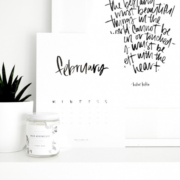 inspiring freebies, calendar, 2016 calendar, 2016 february, brush lettering, art, work, office, stationery, Melo and Co, Canadian made, inspiring, inspiration, organizing, organized, efficient, planning, freebie, printable