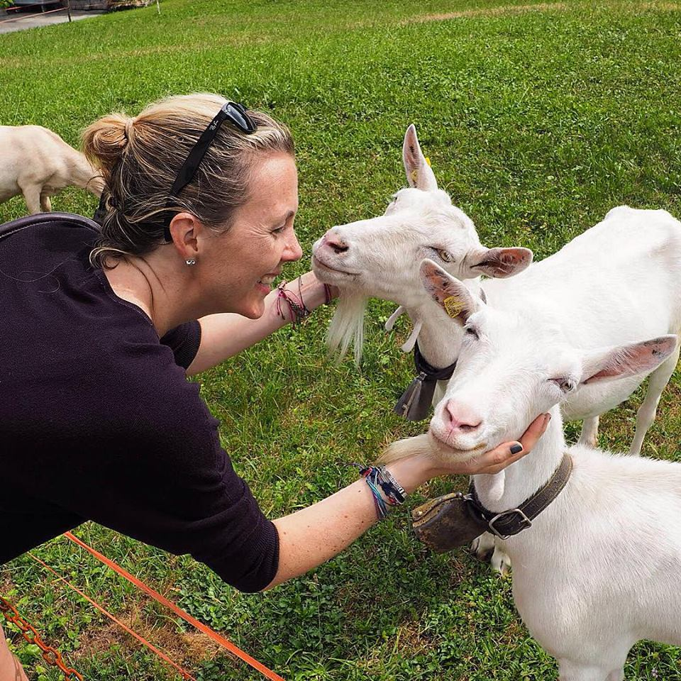 Genevieve Colmer with white goats