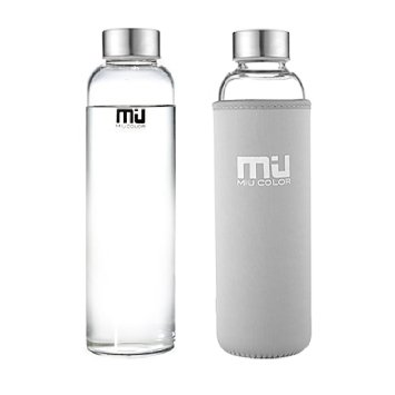 MIU glass water bottle